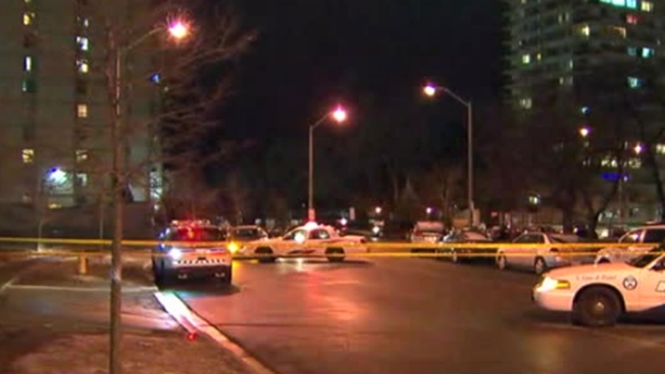 Police investigate a fatal shooting on Thorncliffe Park Drive Saturday February 25, 2017.
