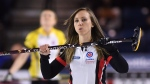 Ontario skip Rachel Homan reacts to a delivery as she takes on Manitoba in the Page Playoff at the Scotties Tournament of Hearts in St. Catharines, Ont., on Friday, Feb. 24, 2017. (Sean Kilpatrick / THE CANADIAN PRESS)