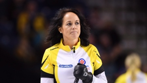 Manitoba skip Michelle Englot takes on Ontario during the Scotties Tournament of Hearts in St. Catharines, Ont., on Thursday, Feb. 23, 2017. THE CANADIAN PRESS/Sean Kilpatrick
