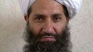 FILE - In this undated and unknown location photo, the new leader of Taliban fighters, Mullah Haibatullah Akhundzada poses for a portrait. (Afghan Islamic Press via AP)