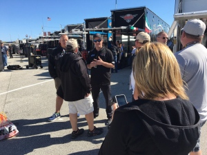 D.J. Kennington of St. Thomas holds court in Daytona on Sunday morning ahead of the Daytona 500.