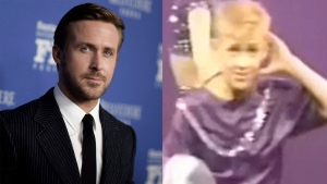 On the left, Ryan Gosling attends the Outstanding Performers of the Year Award ceremony in Feb. 2017. On the right, a younger Gosling is seen dancing in this still frame taken from video. (Photo by Richard Shotwell/Invision/AP)