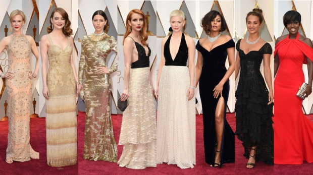 Starlets opted for whites, creams, silvers and champagnes for the Oscars red carpet on Sunday. <br><br> Photos by The Associated Press