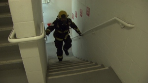 Close to 100 firefighters added some friendly competition to the mix, racing up the stairs while wearing more than 75 pounds of gear. (CTV News). Feb. 26, 2017.