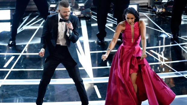 Justin Timberlake performs songs from best original song nominee 'Can't Stop the Feeling,' from 'Trolls' at the Oscars on Sunday, Feb. 26, 2017, at the Dolby Theatre in Los Angeles. (Photo by Chris Pizzello/Invision/AP)