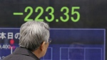 A man stops to look at an electronic stock board of a securities firm in Tokyo on Monday, Feb. 27, 2017. AP / Koji Sasahara)