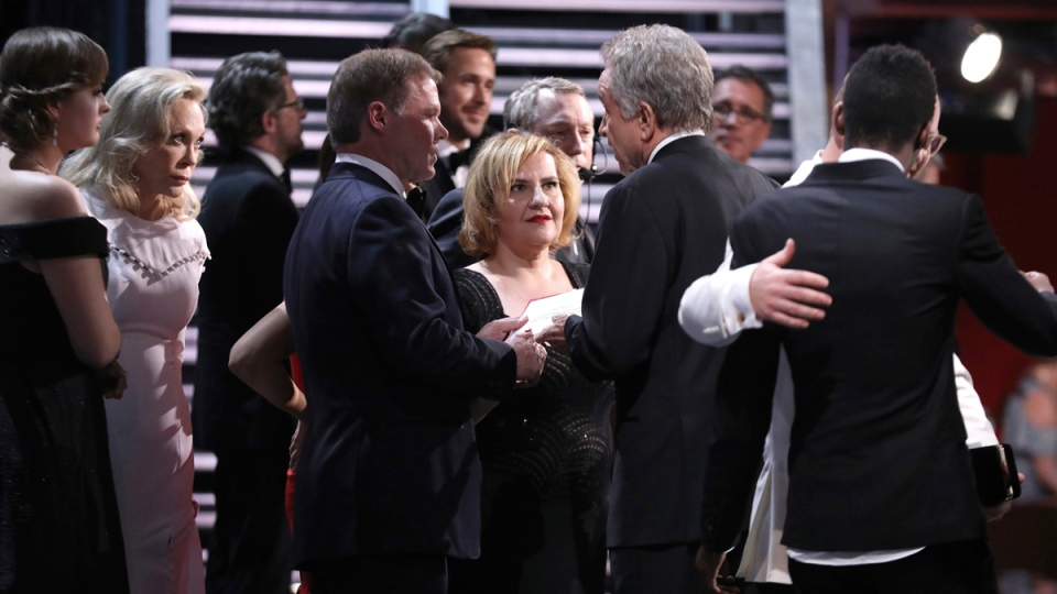 Faye Dunaway, from left, accountant Brian Cullinan, AMPAS staffer, and Warren Beatty backstage at the Oscars on Feb. 26, 2017. (Matt Sayles / Invision / AP)