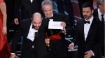 Jordan Horowitz, producer of 'La La Land,' shows the envelope revealing 'Moonlight' at the Oscars on Feb. 26, 2017. (Chris Pizzello / Invision / AP)