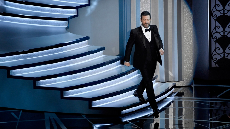 Oscars host Jimmy Kimmel walks on the Dolby Theatre stage in Los Angeles, on Feb. 26, 2017. (Chris Pizzello / Invision / AP)