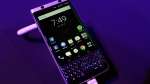 The new BlackBerry KEYone is displayed before the Mobile World Congress in Barcelona, Spain, on Feb. 25, 2017. (Manu Fernandez / AP)