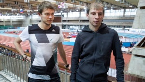 Vasily Permitin, left, and Evgeny Pishchalov, at the Russian Indoor Championships in Moscow, Russia, on Feb. 21, 2017. (Pavel Golovkin / AP)