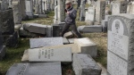 Rabbi Joshua Bolton of the University of Pennsylvania's Hillel Center surveys damaged headstones at Mount Carmel cemetery Monday, Feb. 27, 2017, in Philadelphia. (Jacqueline Larma/THE ASSOCIATED PRESS)