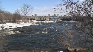 The ruins of the dam at the Deschêne rapids are set to be torn down by Transport Quebec, who owns the land. Community groups and the mayor of Gatineau oppose the move. (Dave Charbonneau/CTV Ottawa, February 27, 2017)