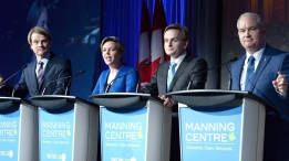 Chris Alexander, Kellie Leitch, Andrew Saxton and Erin O'Toole participate in a Conservative Party leadership debate at the Manning Centre conference, on Friday, Feb. 24, 2017 in Ottawa. THE CANADIAN PRESS/Justin Tang