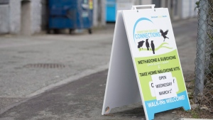 A sign for the on-demand addictions treatment centre is pictured at a alley in Vancouver's downtown eastside, on Monday, February 27, 2017. THE CANADIAN PRESS/Jonathan Hayward