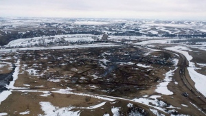 This aerial photo provided the Morton County Sheriff Department shows the closed Dakota Access pipeline protest camp near Cannon Ball, N.D., Thursday, Feb. 23, 2017. (Morton County Sheriff Department via AP)