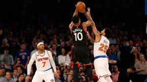 Toronto Raptors guard DeMar DeRozan (10) takes a shot in the waning seconds of the fourth quarter against the New York Knicks at Madison Square Garden on Feb. 27, 2017. (Kathy Willens / AP)