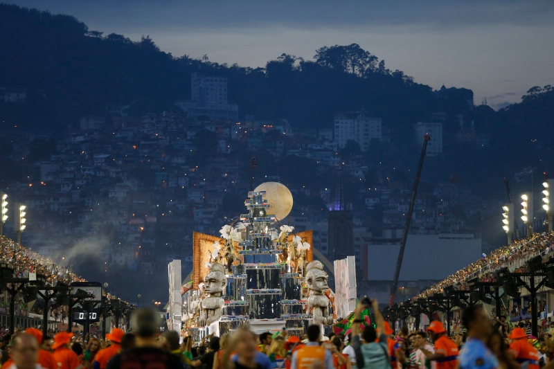 Performers from the Mangueira samba school parade on a float at the end of the Carnival celebrations at the Sambadrome in Rio de Janeiro, Brazil, Tuesday, Feb. 28, 2017. (AP Photo/Silvia Izquierdo)
