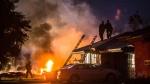 Smoke rises from a fire after a plane crashed in Riverside, Calif., Monday, Feb. 27, 2017. (Watchara Phomicinda/The Press-Enterprise via AP)