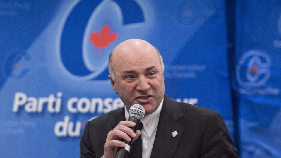 Conservative leadership candidate Kevin O'Leary addresses a Conservative Party leadership debate Monday, February 13, 2017 in Montreal. (Paul Chiasson / CANADIAN PRESS)