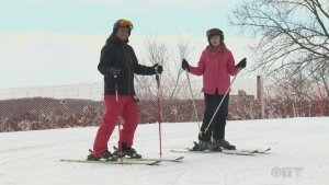 Learning how to stop safely on skis