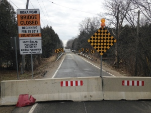 A barricade blocks people from driving onto the Niska Road bridge on Tuesday, Feb. 28, 2017. (Kevin Doerr / CTV Kitchener)