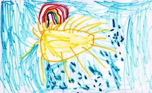 Weather art by Abigail, age 4, from Highroad Preschool.