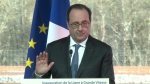 In this grab taken from video, France's President Francois Hollande gestures as he delivers a speech during the inauguration of a train line, in Villognon, Western France on Tuesday, Feb. 28, 2017. (Pool Video)