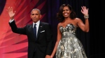 FILE - This Sept. 17, 2016 file photo shows President Barack Obama and first lady Michelle Obama at the Congressional Black Caucus Foundation's 46th Annual Legislative Conference Phoenix Awards Dinner in Washington. (AP Photo/Pablo Martinez Monsivais, File)