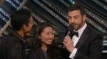 Patrick, left, and Yulree Tio talk to Jimmy Kimmel at the Academy Awards on Sunday, Feb. 26, 2017. (CTV News)