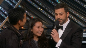 Patrick, left, and Yulree Tio talk to Jimmy Kimmel at the Academy Awards on Sunday, Feb. 26, 2017. (CTV News)