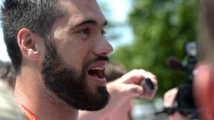 Kansas City Chiefs offensive tackle Laurent Duvernay-Tardif speaks with the media in St. Joseph, Mo. Sunday July 20, 2014. (AP / St. Joseph News-Press, Todd Weddle)