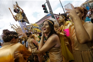 Revellers congregate at the start of the Society of Saint Anne Mardi Gras parade in New Orleans, Tuesday, Feb. 28, 2017. (AP Photo/Gerald Herbert)
