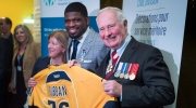 Nashville Predators P.K. Subban presents Governor General David Johnston with a team jersey during a ceremony, Wednesday, March 1, 2017 in Montreal. Subban received the Governor General Meritorious Service Decoration. THE CANADIAN PRESS/Paul Chiasson