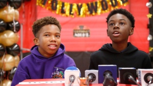 Jaden Piner, left, 13, and Alex Hibbert, 12, speak about what it was like to be at the Academy Awards for their part in the film 'Moonlight,' during a news conference at Norland Middle School, Wednesday, March 1, 2017, in Miami Gardens, Fla. (AP Photo / Wilfredo Lee)