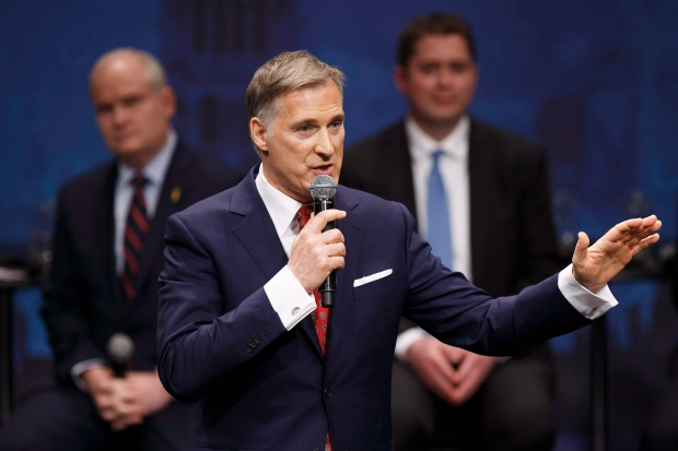 Maxime Bernier speaks during the Conservative leadership debate at the Maclab Theatre in Edmonton, Alta., on Tuesday, Feb. 28, 2017. (Codie McLachlan / THE CANADIAN PRESS)