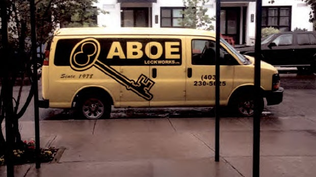 This truck, owned by ABOE Locksmith, a contractor employed by the Calgary Housing Company, was stolen from outside an Airdrie apartment building on Monday night. (Supplied)