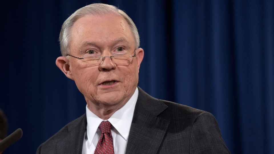 U.S. Attorney General Jeff Sessions speaks at the Justice Department in Washington, on March 2, 2017. (Susan Walsh / AP)