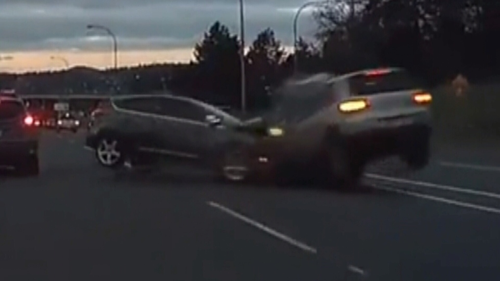 Head-on crash on B C  highway caught by dashcam | CTV News