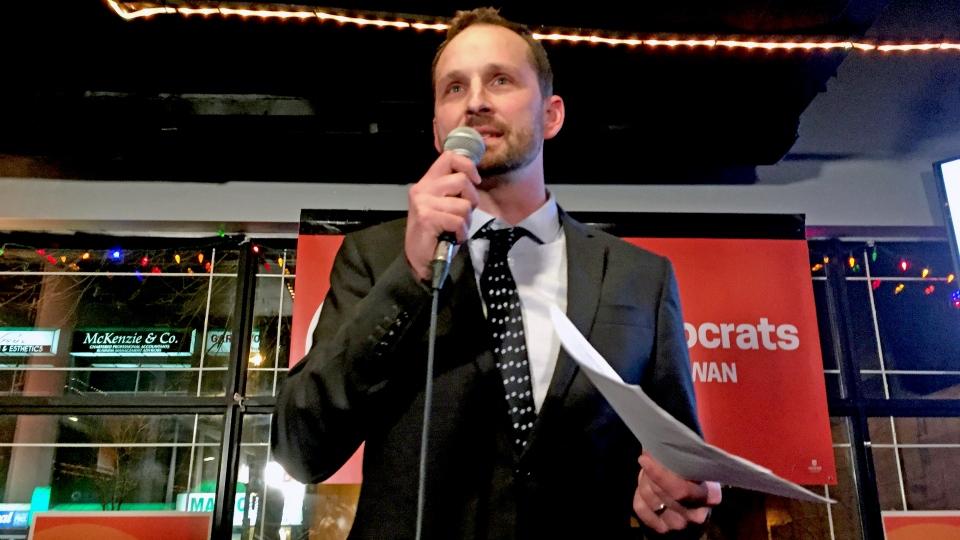 The NDP's Ryan Meili speaks to a crowd in Saskatoon after winning the Saskatoon Meewasin byelection Thursday, March 2, 2017. (Angelina Irinici/CTV Saskatoon)