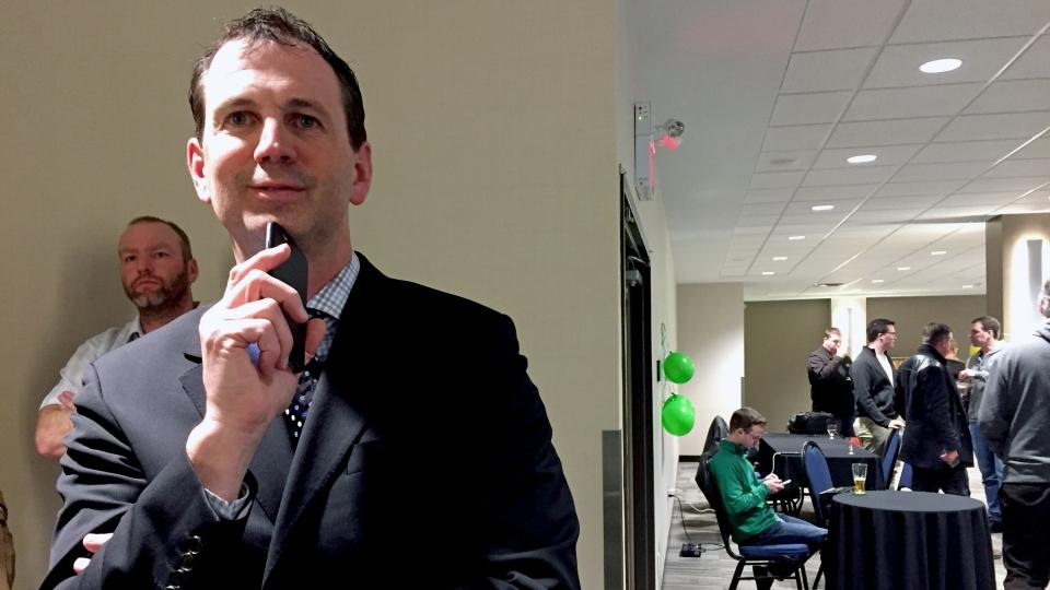 Saskatchewan Party candidate Brent Penner watches Saskatoon Meewasin byelection results roll in Thursday, March 2, 2017. (Angelina Irinici/CTV Saskatoon)