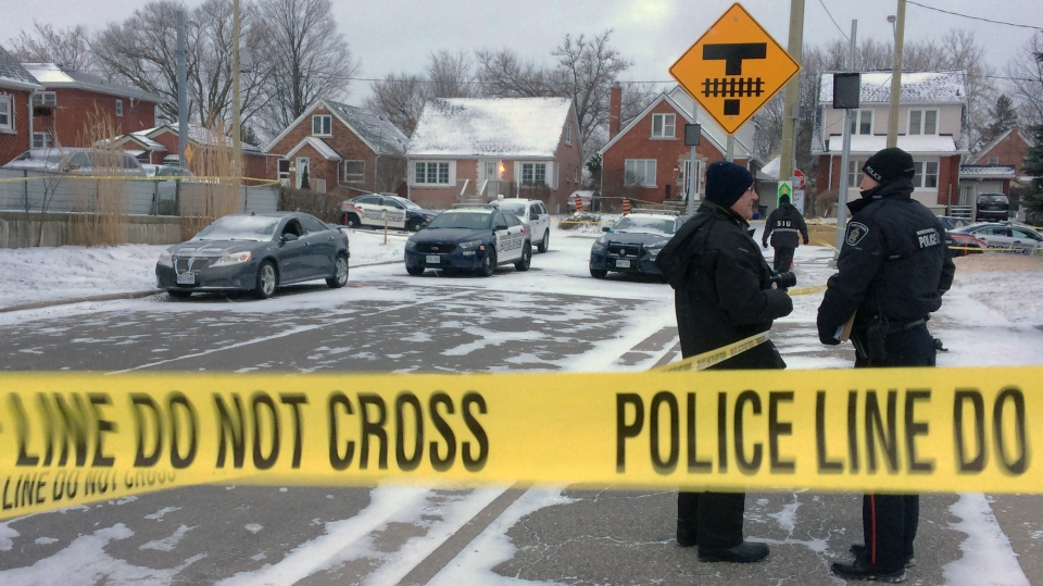 Police investigate after a man was shot during a traffic stop at Ottawa Street South and Lilac Street in Kitchener on Thursday, March 2, 2017. (Jeff Pagett / CTV Kitchener)