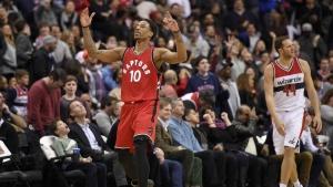 Toronto Raptors guard DeMar DeRozan (10) reacts after he scored a 3-pointer during the second half of an NBA basketball game as Washington Wizards guard Bojan Bogdanovic (44) looks away, Friday, March 3, 2017, in Washington. (AP / Nick Wass)