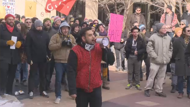 Omar Kinnarath, founder of FF1 - Fascist Free Treat 1, speaks to the crowd at a counter rally at Winnipeg City Hall. FF1 organized the rally in response to another set for the same time to oppose M-103, a motion calling on the Commons heritage committee to look at reducing Islamophobia and collect data on hate crime reports.
