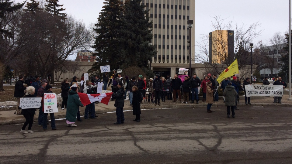 Two groups rally in front of Regina's City Hall on March 4, 2017 (Taylor Rattray / CTV Regina)