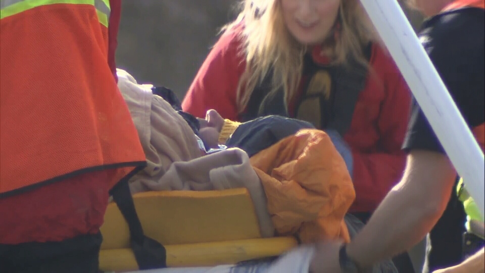 One of the skiers was buried for several minutes and had to be rushed to hospital. (CTV)