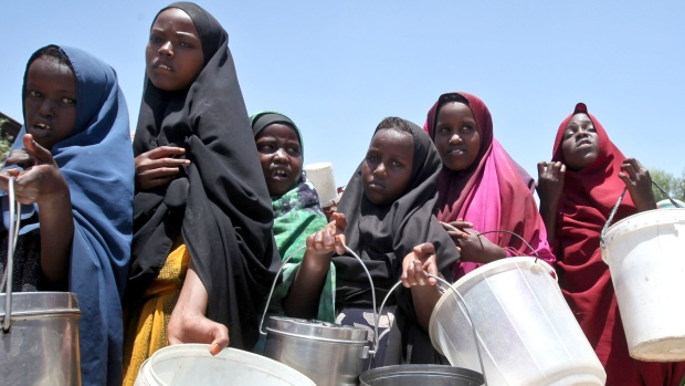 Displaced Somali girls who fled drought
