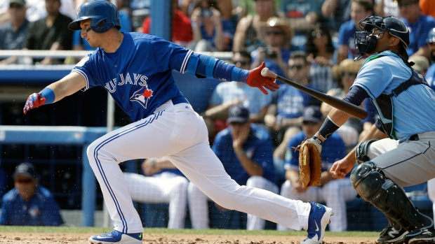 eb98e5368 Toronto Blue Jays  Troy Tulowitzki bats in front of Tampa Bay Rays catcher  Luke Maile during the first inning of a spring training baseball game  Sunday