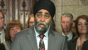 Defence Minister Harjit Sajjan speaks to reporters on March 6, 2017.