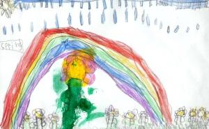 Weather art by Jashaam, age 7, from K.B. Woodward Elementary School.